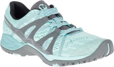 Engineered for the way you move, the Merrell Womens Siren Hex Q2 E-Mesh Hikers provide support, alignment and stability. Q Form 2 dual-density midsoles with heel-centering technology provides alignment and comfort that you need. Engineered mesh uppers keep shoes light while the bellows tongues keep debris out. Kinetic Fit removable, contoured insoles provide light support to all three arches of the foot. M-Select Fresh technology fights odor to keep shoes smelling fresh. M-Select Grip outsoles provide superior traction. Merrell Air Cushion in the heels absorbs shock and adds stability. 3.5mm lug depth. Imported. Avg. wt: 1 lb./pair. Womens sizes: 6-10 medium width. Half sizes to 10. Color: Bleached Aqua. Size: 10. Color: Bleached Aqua. Gender: Female. Age Group: Adult. Type: Shoes. - $99.99