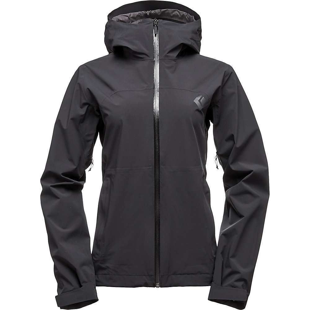 Features of the Black Diamond Women's StormLine Stretch Rain Shell Built with BD. dry - our engineered waterproof/ breathable laminate Stretch fabric increases durability and comfort Underarm gussets for added mobility YKK reverse coil PU coated center front zipper Packs into right-hand pocket with carabiner clip loop Adjustable cuffs and hem DWR pit zips for ventilation - $148.95