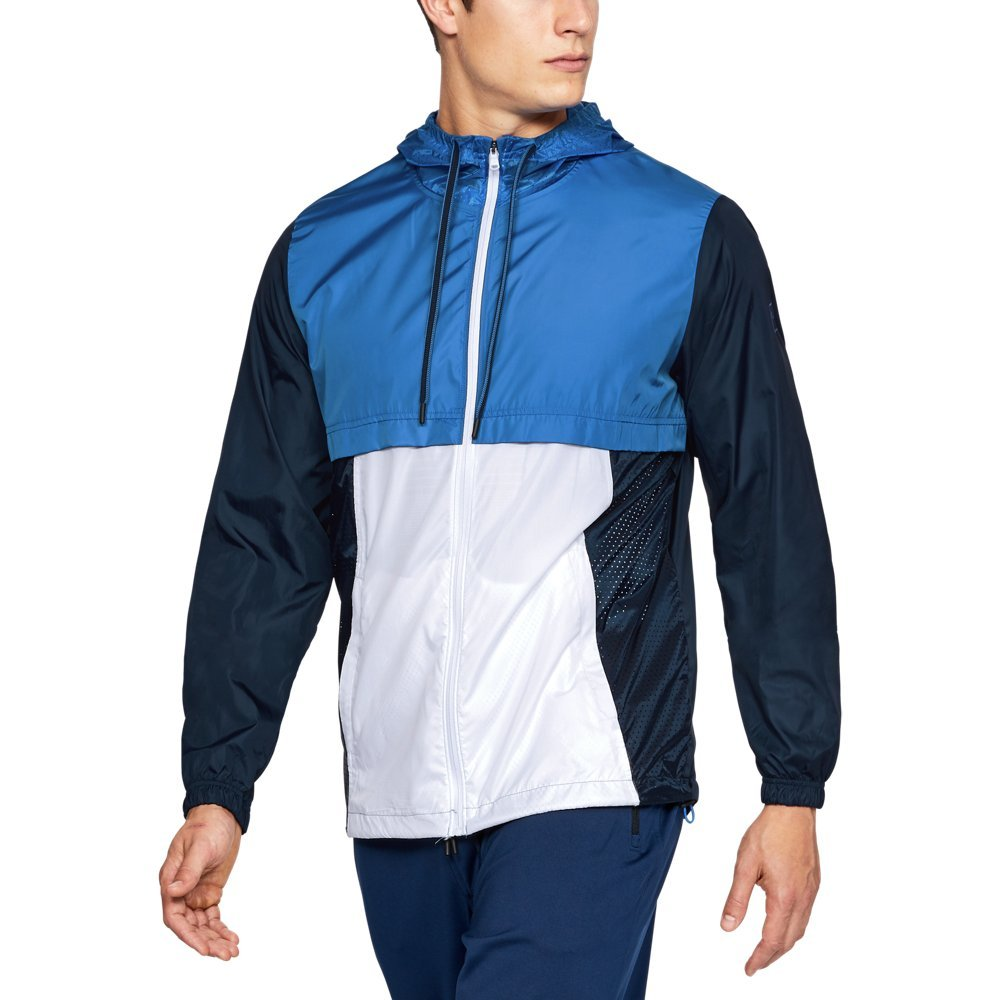 Super lightweight woven with perforated insets allows for excellent airflow  Wind-resistant materials & construction   Elastic cuffs & adjustable bungee at hem for a customized fit  Graphic hood with two color drawcords for warmth & comfort  Secure zip hand pockets - $60.00