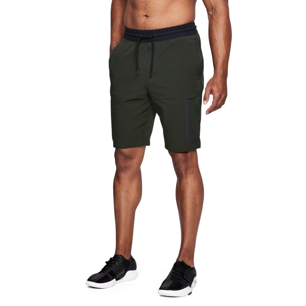 "UA Storm technology repels water without sacrificing breathability  Stretch-woven fabric is tough but lightweight  Ribbed elastic waistband with external drawcord  Low-profile cargo pockets & hand pockets with right-side internal phone pocket  Faux fly  Inseam: 10""  No liner - $80.00"