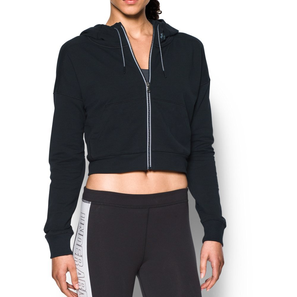Super-soft terry construction delivers lasting comfort   Signature Moisture Transport System wicks sweat to keep you dry & light  Cute cropped design is perfect for layering  Full zip front with striped zipper tape  Mesh-lined 3-piece hood with adjustable drawcords  Rolled forward shoulder seams eliminates chafing   Dedicated media storage pocket - $63.99