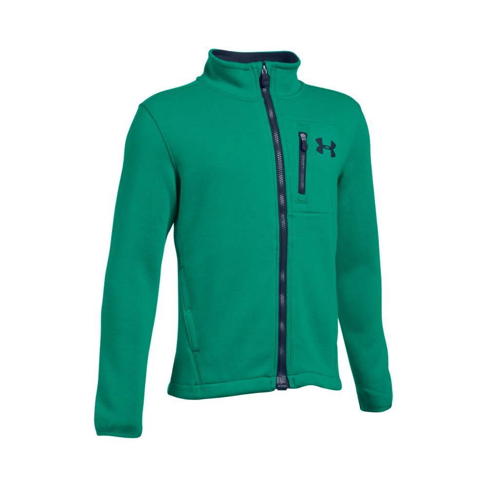 UA Storm technology repels water without sacrificing breathability  Soft knit cotton-rich exterior bonded to a warm fleece interior  Secure chest & hand pockets  Elastic bound cuffs - $47.99