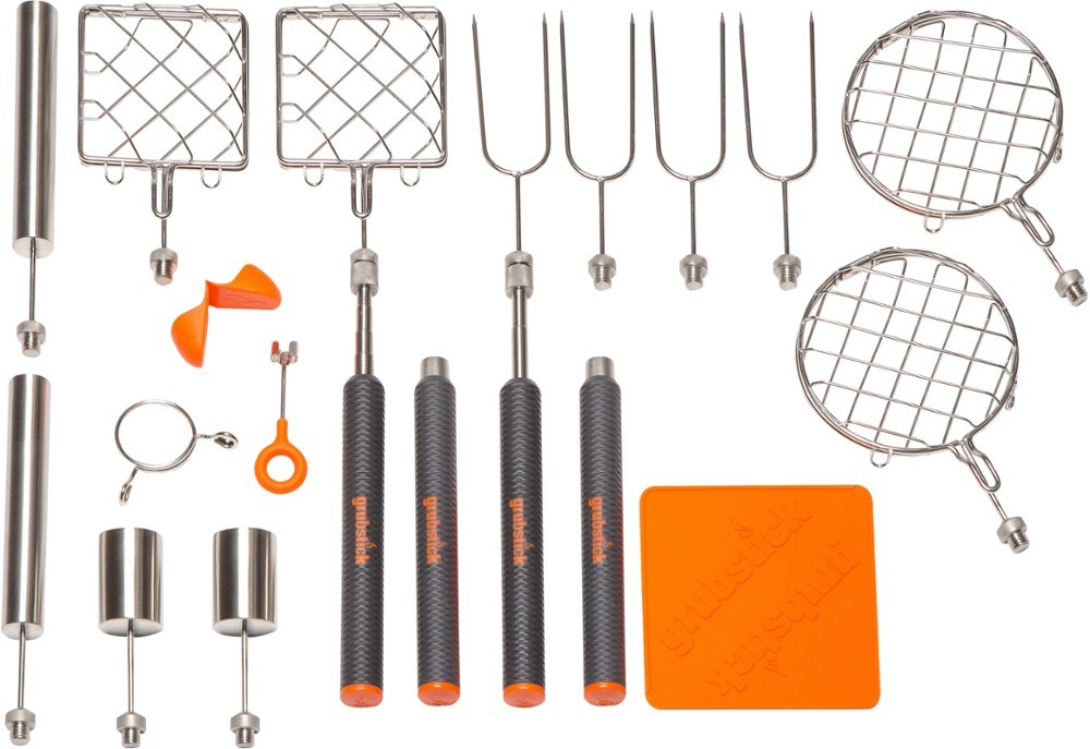 Get your family or group of friends in on the cooking action with the grubstick 21-Piece Master Campfire Cook kit. It includes 4 telescoping sticks and 12 attachments to roast a variety of fun foods. - $139.95