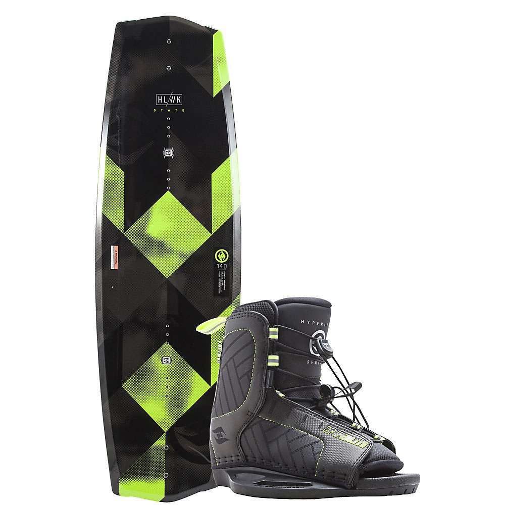 Features of the Hyperlite State 2.0 135cm WakeBoard with Remix Boots Package With layered glass every hyperlite deck will have the same pop off the double up year after year Monocoque construction: Integrating the top glass and the bottom glass into one, generating a more durable Board on side impacts to prevent delamination Abrupt continuous Rocker: Rocker line adds a little more kick to the speed that so many riders look for Rocker line transitions to a slightly exaggerated tip and tail Rocker creating added pop without sacrificing speed into the wake Molded-in toe side Footbed risers Asymmetrical design M6 inserts Molded-in fins - $349.99
