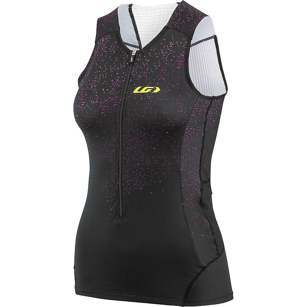 Features of the Louis Garneau Women's Pro Carbon Sleeveles Top Quick-drying Moisture management Antiodor treatment Chlorine-resistant Cooling effect treatment 4-way stretchability Aerodynamic Hydrodynamic Laser-finished at shoulders Tri-specific anti-chafing seams placement Reflective logos at front and back 2 Covered at sides - $89.95
