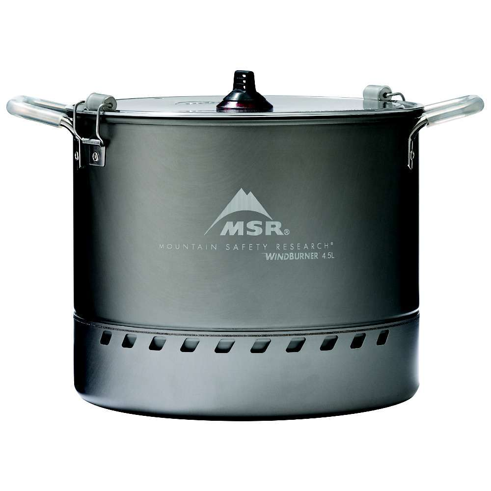 Features of the MSR WindBurner Stock Pot 4.5 liter hard-anodized aluminum pot with fixed handles Large 4.5 liter capacity is ideal for group meal and large volume cooking Ultra-efficient design Features an integrated heat exchanger allows for fast boil times, with less fuel used Can nest with the WindBurner Group Stove System for efficient packing Self-centering pot Fits a WindBurner stove deep lip for increased stability Aluminum strainer lid with locking latches Compatible exclusively with MSR WindBurner Stove Systems NOT for use with the MSR WindBurner Personal Stove System - $99.95