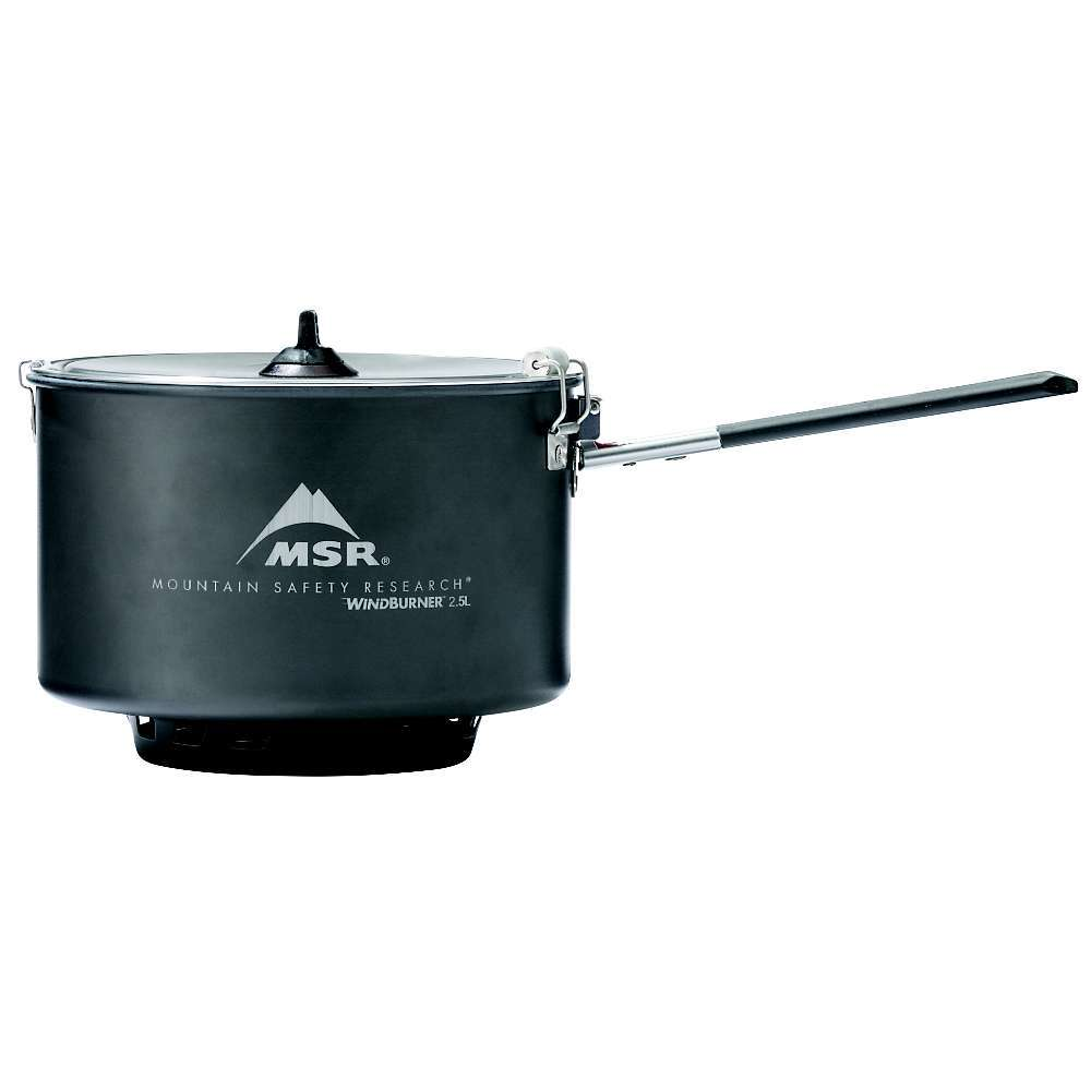 Features of the MSR WindBurner Sauce Pot 2.5 L ceramic-coated aluminum nonstick pot with folding Talon(TM) handle Strainer lid with locking latch Self-centering pot Fits WindBurner stoves? deep lip for increased stability - $79.95