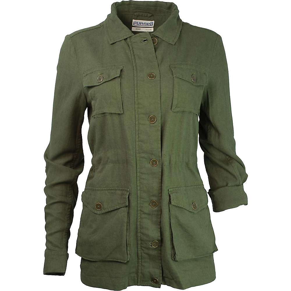 Features of the Purnell Women's Linen Field Jacket Enzyme-washed, silicone softened Unlined with hidden waist drawstring Antique brass buttons - $98.95