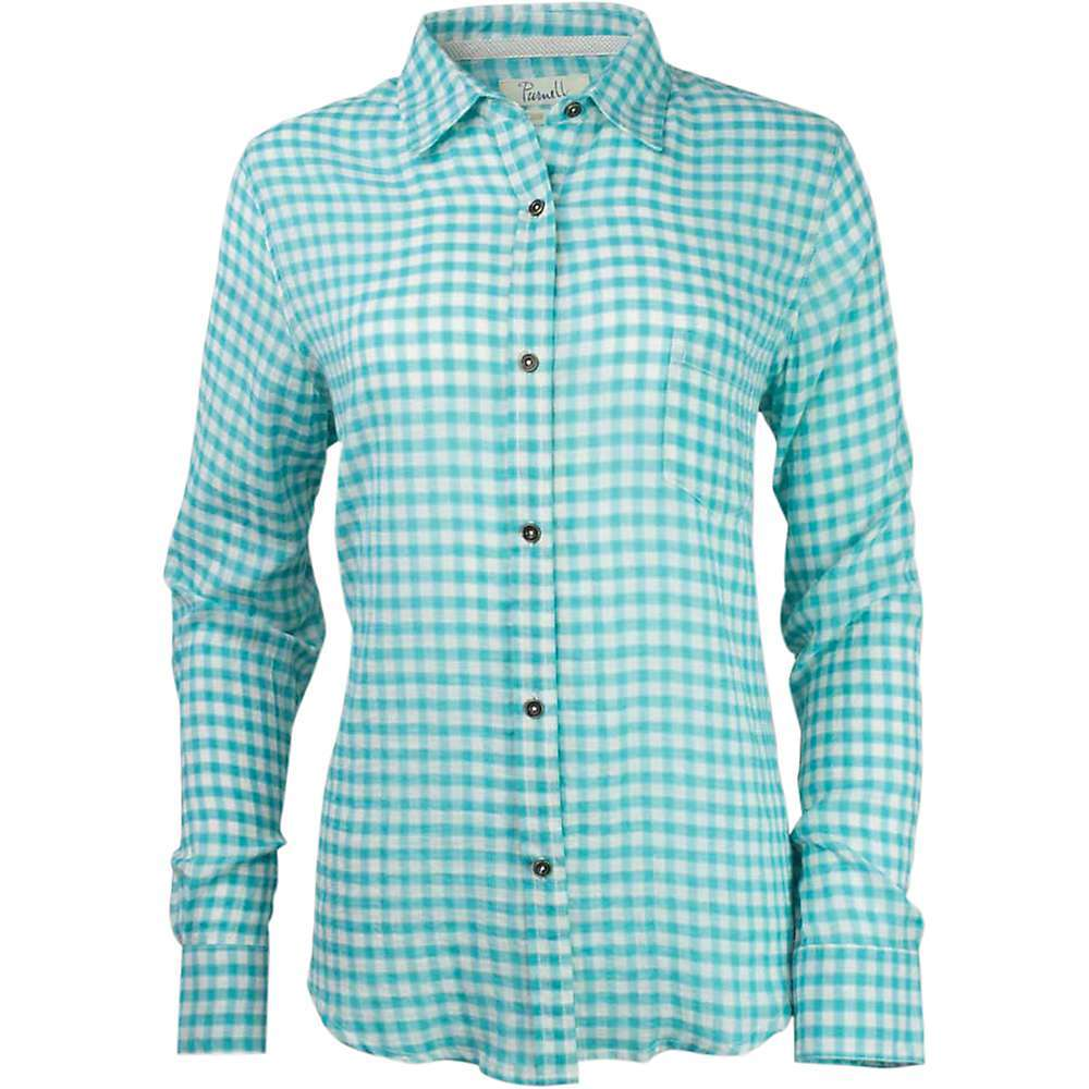 Features of the Purnell Women's Checkered Long Sleeve Shirt Enzyme-washed, silicone softened Clean-edge seams Antique nickel-finished buttons Contrast neck seam tape - $64.95