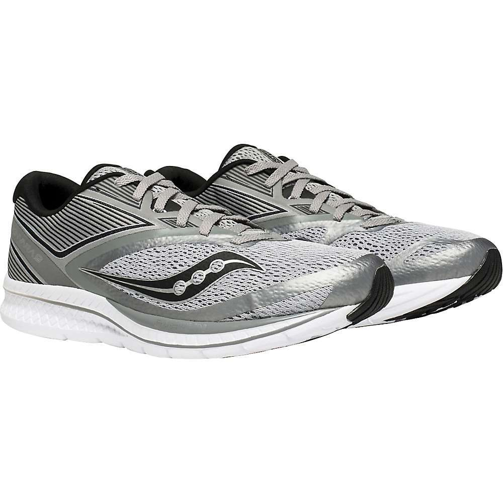 Features of the Saucony Men's Kinvara 9 Shoe Woven heel support EVA+ Midsole Everun provides a lively, resilient ride while providing continuous cushioning throughout the run Highly durable and with enhanced energy return properties, EVERUN delivers an energized running experience with every stride - $109.95