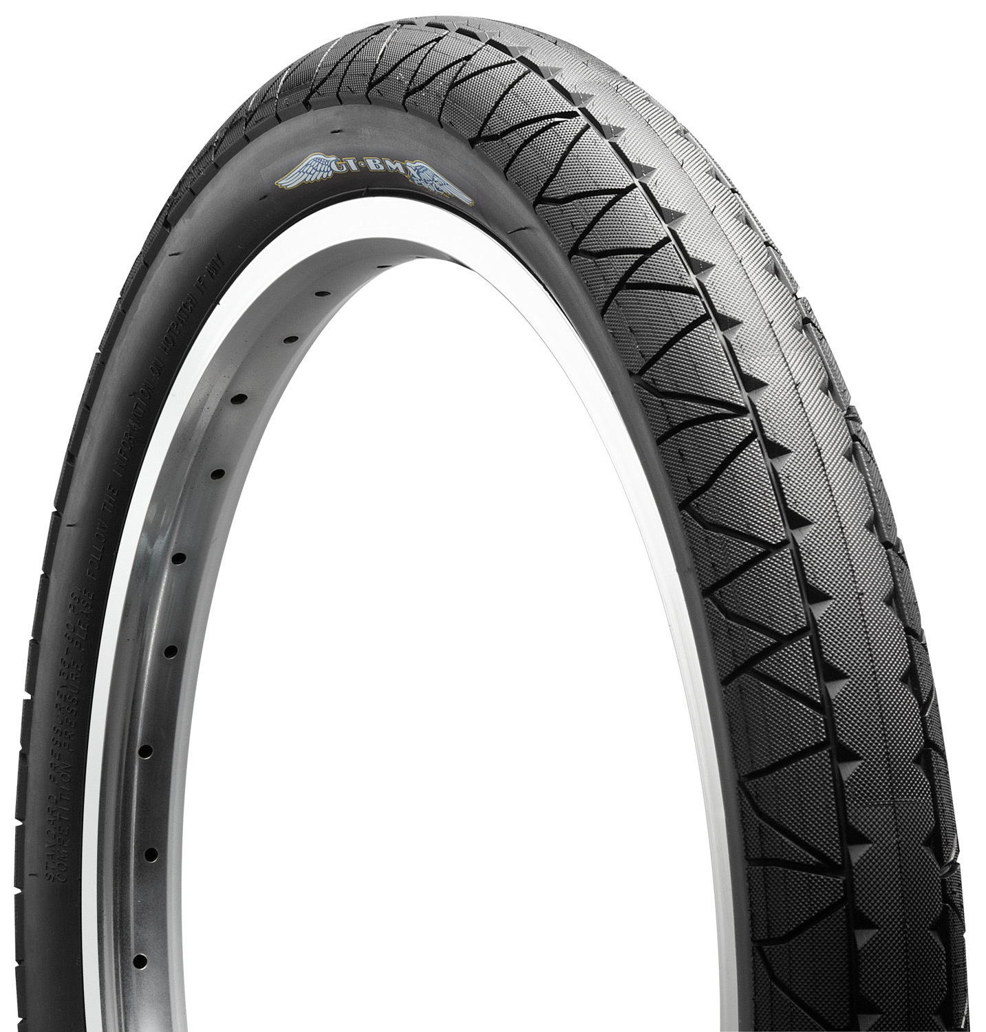 "BMX GT's BMX Street bike tires are super smooth rolling with a knurled surface for ultimate traction on hard surfaces. It comes in 2 sizes: 20"" x 2.3"" and 20"" x 2.1"", each has wire bead, stiffer sidewall for impract resistance. Alternatively, size 20"" x 2.3"" and 20"" x 2.1"", each made with Kevlar, skinwall 60 tpi, foldable and lightweight. - $19.99"