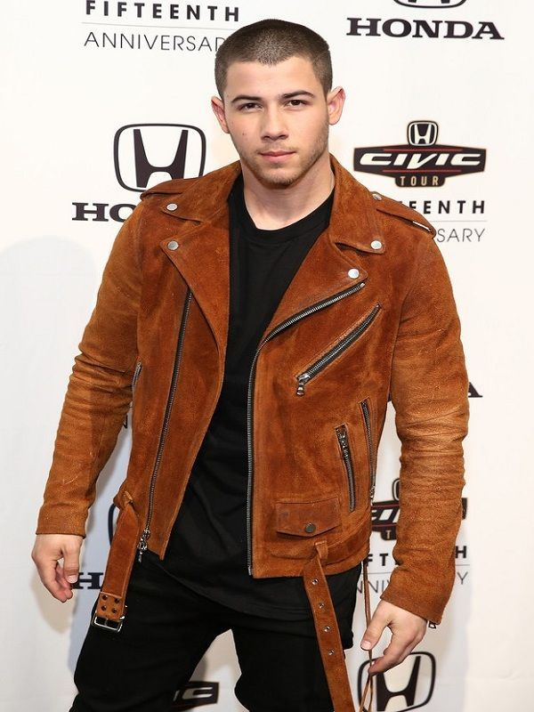 Motorsports NICK JONAS BIKER STYLE LEATHER JACKET