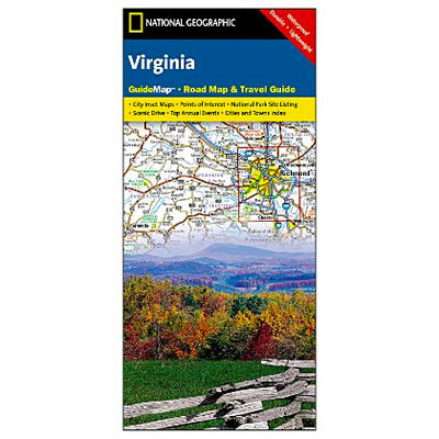 The National Geographic Virginia Guide Map combines the most reliable road maps available with detailed travel guide information. - $7.95