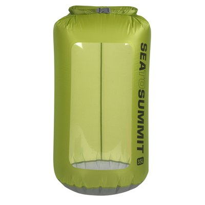 It's easy to view the contents inside Sea to Summit's 35 L Ultra-Sil View Dry Sack with its strong, RF-welded, clear TPU window. - $44.95