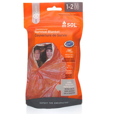 Adventure Medical Kits SOL Survival Blanket fits 1 or 2 people, reflects up to 90% of radiated body heat, and features survival and first-aid instructions printed directly on the blanket. - $7.00