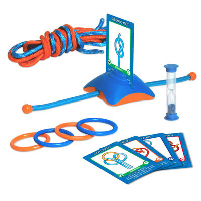Ideal for scouts, climbers, sailors, or anyone who likes a challenge, the Think Fun Knot So Fast game requires players to think with their hands and use spatial reasoning as they see who can tie the knot fastest. - $19.95
