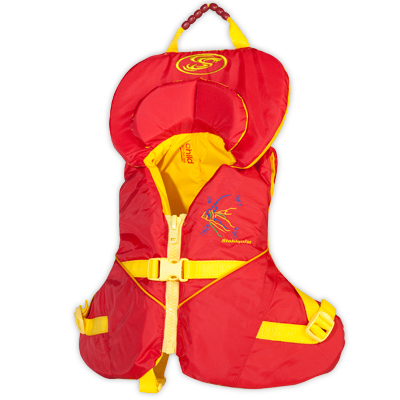 The unique wrap-around flotation of Stohlquist's Nemo turns a child face up in water. Dual-support collars cradle the head, while a front-zipper entry and adjustable crotch strap secure the jacket in place. - $59.95