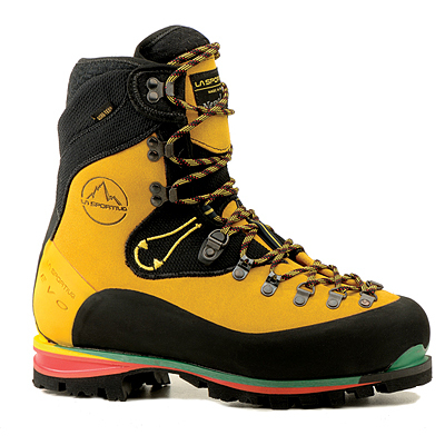 Extremely light for a mountaineering boot (just 4 lb. 9 oz. per pair) the Nepal EVO Gore-Tex Boot is ideal for technical use on high-elevation terrain and ice. Features a rough-out leather upper. Leather mountaineering boots yield greater sensitivity and hiking-boot comfort when compared with plastic boots. - $510.00
