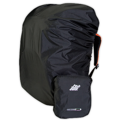 A lightweight, waterproof backpack cover sized for backpacks between 4000 and 7000 cubic inches (65 to 115 liters). - $25.00