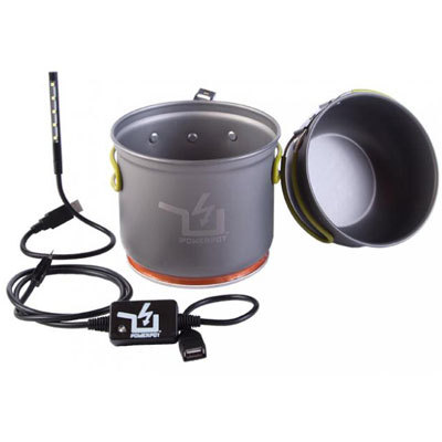 Say hello to the next generation of making electricity. Power Practical's PowerPot V converts the heat from your camp stove directly into power that will power up your mobile devices as it boils water. - $149.00