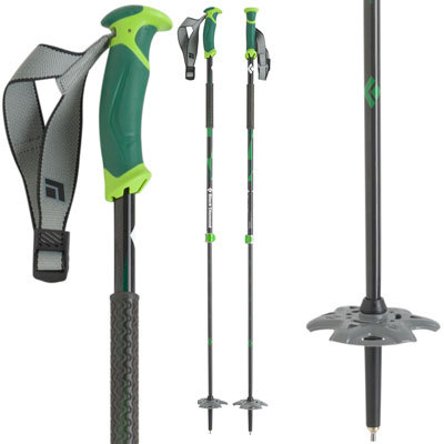 Ski Light, strong and stiff thanks to its 100% carbon fiber construction; the Black Diamond Pure Carbon is the ultimate 2-piece pole with grip extension for those steep bootpacks. - $139.95