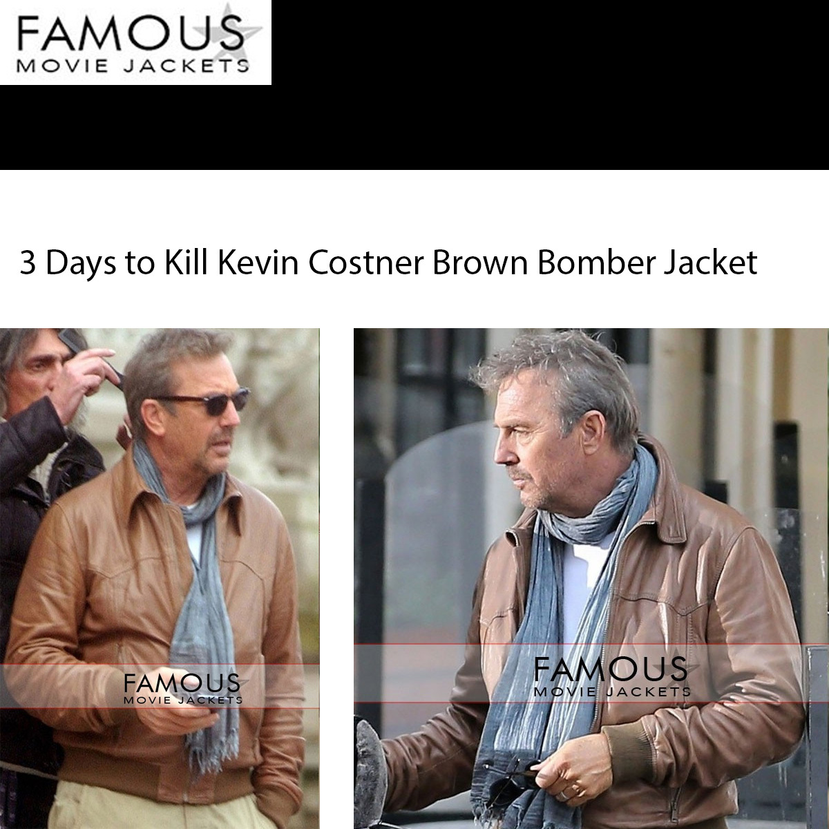 Fishing 3 Days to Kill Kevin Costner Brown Bomber Jacket