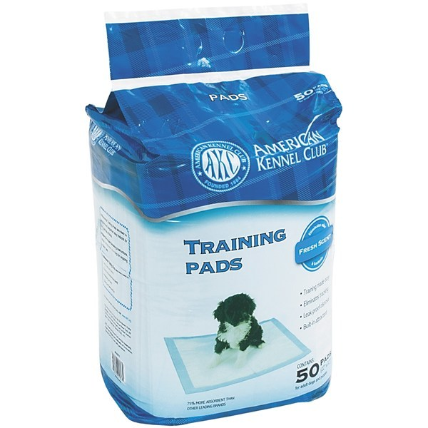 CLOSEOUTS . New puppy in the house? AKC's 50-pack training pads feature a natural attractant to help train your new friend, and quick-drying gel immediately absorbs elimination and prevent tracking and odor. Available Colors: SEE PHOTO. - $14.95