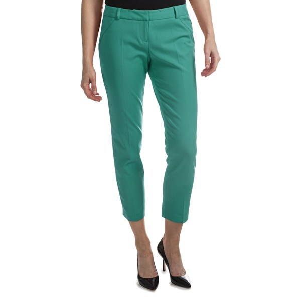 CLOSEOUTS . A tapered pant in a stretchy, cotton-soft fabric, Amanda + Chelsea's ankle pants are a wardrobe staple that look work-place stylish with long, layered tops and high-heel shoes. Available Colors: BLACK, GREEN, FRENCH BLUE, FRUIT PUNCH. Sizes: 2, 4, 6, 8, 10, 12, 14. - $44.95