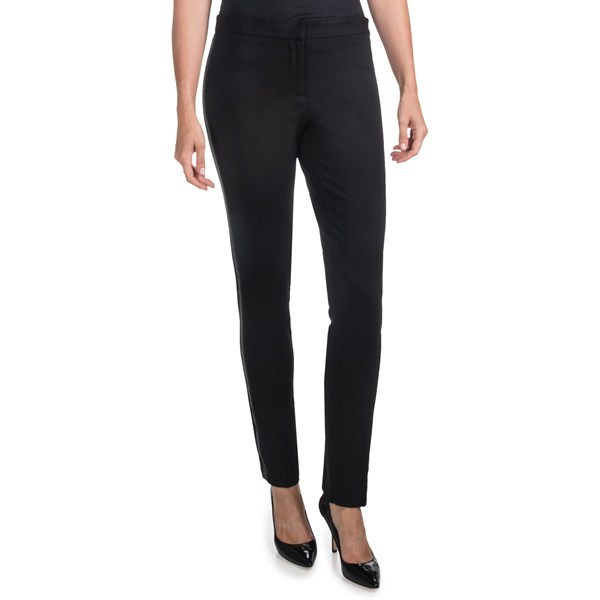 CLOSEOUTS . Amanda + Chelseaand#39;s ponte pants are athletic-inspired career pants that get their city-girl sizzle from the faux-leather racing stripe down each skinny leg. Available Colors: BLACK. Sizes: 14W, 16W, 18W, 20W, 22W. - $15.47