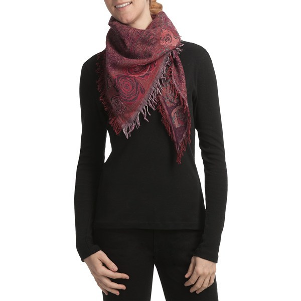 CLOSEOUTS . Etched-look prints of roses top Asian Eye's Rosa triangle scarf, a lightweight design in dense, wind-resistant boiled wool. Available Colors: BLACK MULTI, RED MULTI. - $19.96