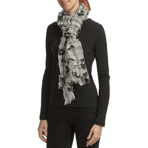 CLOSEOUTS . A color palette of charcoal greys and blacks creates the rose pattern on Asian Eye's Harmony Rose scarf, a layering essential thanks to its versatility. Available Colors: GRAY/BLACK. - $22.43