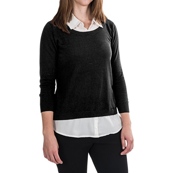 CLOSEOUTS . The perfect length of shirttail peeks out from the hem of this August Silk Duet Overlay shirt, designed with built-in collared shirt details to create a layered look using just one piece. Available Colors: BLACK, WINE CELLAR, HAVANNAH SAPPHIRE, GREY FLANNEL HEATHER. Sizes: S, M, L, XL. - $39.95