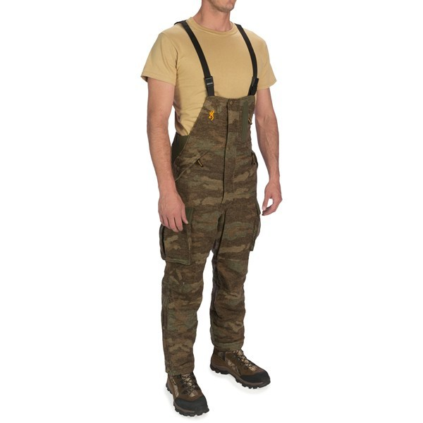CLOSEOUTS . When your hunting trips start heading for big-league weather, saddle-up in Browningand#39;s Full Curl wool bib overalls and tackle the harsh elements. These AllTerrain camouflage-patterned bibs feature WindKill laminated fabric that blocks the wind and is water-resistant. Available Colors: ALL TERRAIN. Sizes: S, M, L, XL. - $174.95