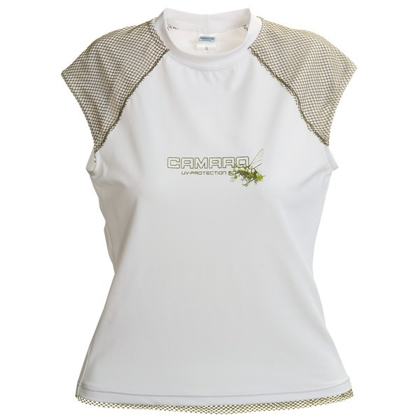 CLOSEOUTS . Fishnet accents on the shoulders and hem add distinctive flair to Camaro's Prado Bay rash guard, treated to provide UPF 50 sun protection. Available Colors: WHITE W/OLIVE. Sizes: XS, S, M, L, XL. - $12.83