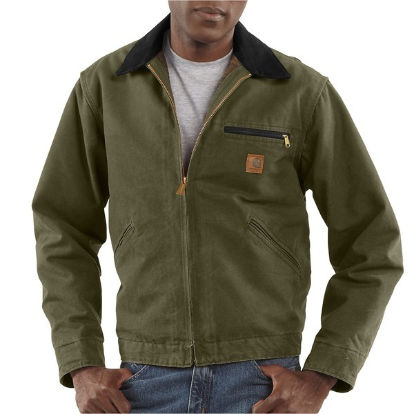 2NDS,  Carhartt-tough 12 oz. cotton Detroit duck jacket is micro-sanded and garment-washed for a softer feel. Available Colors: TAN, CARHARTT BROWN, MEDIUM BROWN, MOSS, DARK BROWN, GREY, NAVY, LIGHT BROWN, CAMEL, PETROL, 13, BLACK, GRAVEL, ARMY GREEN, FIREWOOD, DEEP BLUE, WORN BROWN, COTTONWOOD, FRONTIER BROWN. Sizes: L, 5XL, XS, S, 3XL, 4XL, XL, M, 2XL. - $69.95