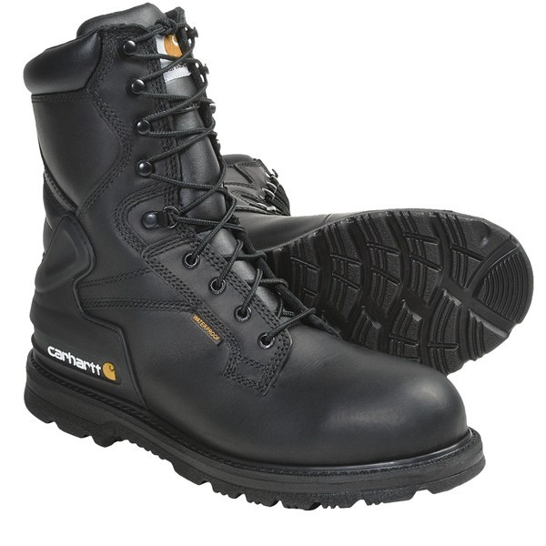 CLOSEOUTS . Waterproof breathable protection, a steel safety toe and the support of a molded TPU heel counter makes Carhartt oil-tanned leather work boots an outstanding choice for demanding workers seeking added height and excellent support. Available Colors: BLACK. Sizes: 8, 8.5, 9, 9.5, 10, 10.5, 11, 11.5, 12, 13, 14, 15. - $93.95