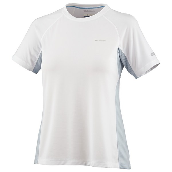 CLOSEOUTS . Columbia Sportswear's base layer Bug Shield top does double-duty during tough workouts. Mesh panels with Omni-Wickand#174; advanced evaporation technology keeps you dry, and Insect Blockerand#174; treatment helps keep mosquitoes and other biting insects at bay. Available Colors: WHITE, MIRAGE. Sizes: XS, S, M, L, XL. - $42.95