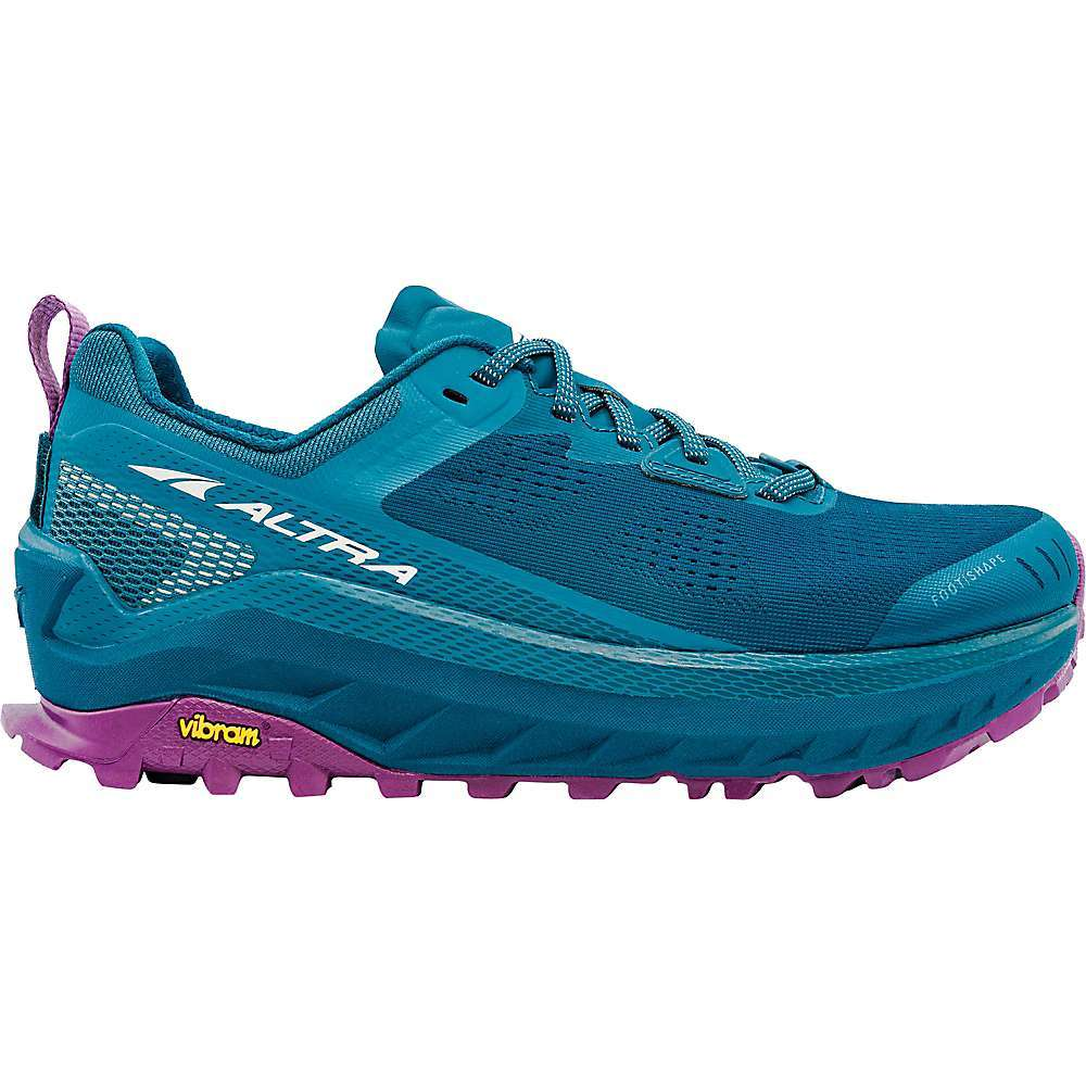 The Altra Women's Olympus 4 Shoe is a trail running shoe designed for all-terrain Performance and long-distance comfort. With max cushioning and an aggressive Vibram MegaGrip Outsole, these puppies Are like off-road tires for rugged trails. The lightweight mesh Upper keeps your feet nice and cool, the FootShape toe-box gives your toes plenty of room to splay out, and the GaiterTras keep your gaiters in place and keep dirt, rocks, and Snow from sneaking in.  Features of the Altra Women's Olympus 4 Shoe Sticky VibramA(R) Megagrip(TM) Outsole that excels in both wet and dry conditions Premium tongue for tailored lock-in feel Engineered mesh Upper for increased breathability and durability Stack height of 33mm - $170.00