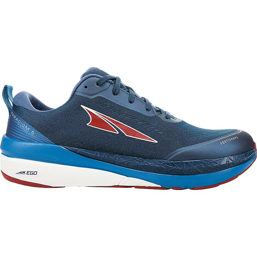 Features of the Altra Men's Paradigm 5 Shoe BALANCED CUSHIONING Places your heel and forefoot the same distance from the ground to encourage proper, low-impact form throughout your run FOOTSHAPE TOE BOX Allows your toes to relax and spread out naturally for more comfort and stability ALTRA EGO Dual-Nature Midsole compound with a responsive, yet soft feel for increased energy return GUIDERAIL A feature found on our dynamic support shoes that acts like a Highway guide rail to provide guidance only when you need it STABILIPod Acts as a stabilizing triPod by enhancing the three natural stability zones in your foot to help prevent excessive foot collapse or pronation - $150.00
