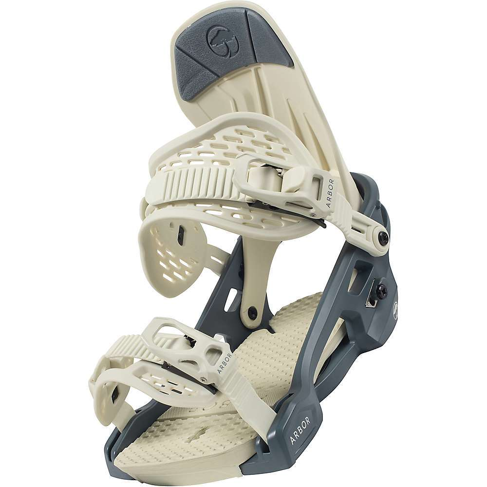 Features of the Arbor Acacia SnowBoard Binding 2.5? Canted Footbed ? For a more natural foot / knee position, the built-in angle of the baseplate fights fatigue and bad form Adjustable EVA Footbed Lightweight Single Mold Baseplate Women's Specific Asymmetrical Highbacks Bow-Strap Adjuster Textured Stretch Single Durometer Ankle Strap Toolless Ankle and Toe Strap Adjustments Snapback Aluminum Ankle and Toe Ratchets Universal 4x4 Disc - $159.99