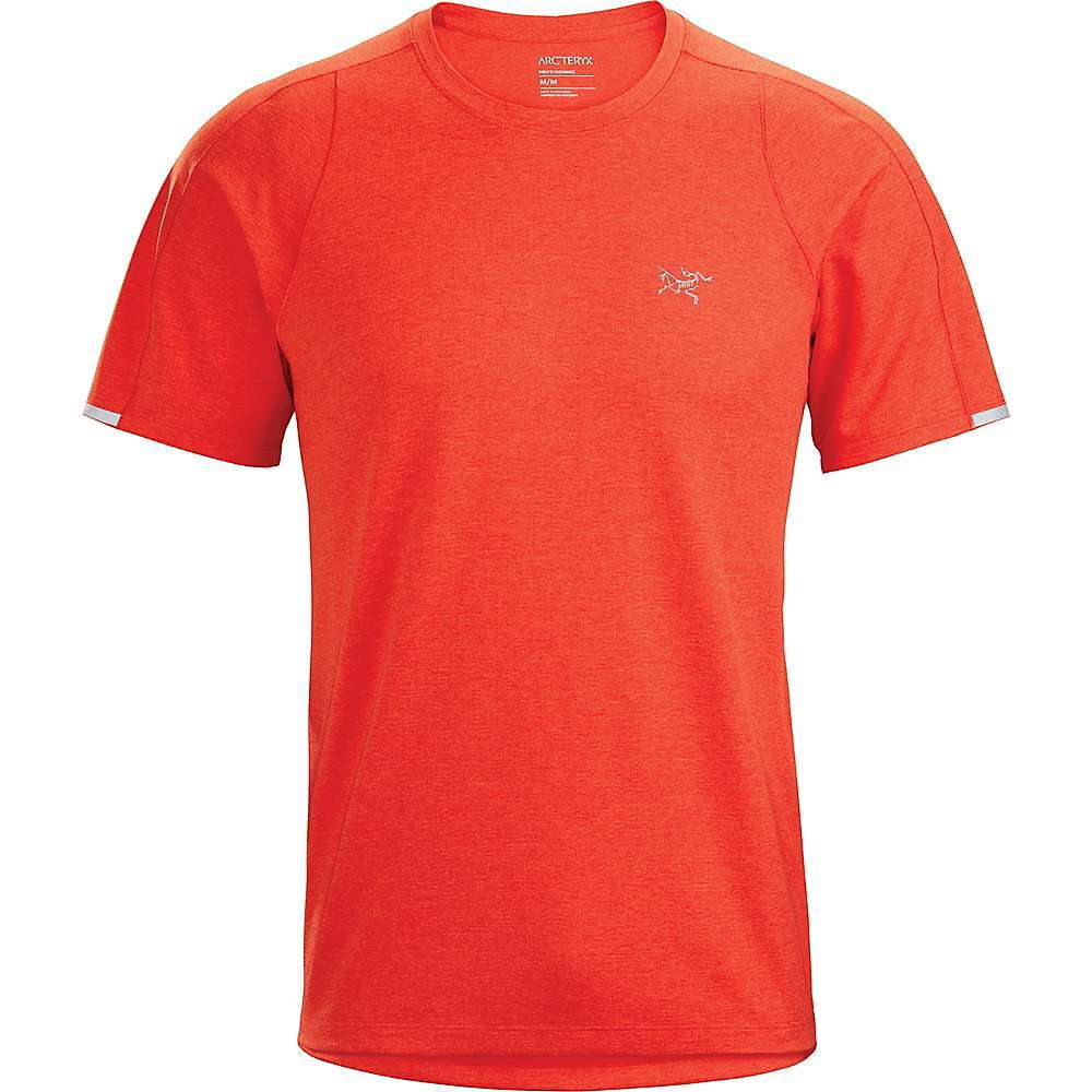 The Arc'teryx Men's Cormac SS Crew is a lightweight Tech tee for mastering all your trail runs. The gridded fabric wicks like a champ, controlling the sweat and drying quickly for an excellent feel from the beginning of the trail to the end. Power through the hot summer sun, while the tee provides UPF 45+ sun protection and offers plenty of air flow. Ostria; polyester fabric stretches for plenty of restriction-free movement. Features of the Arcteryx Men's Cormac Short Sleeve Crew Lightweight, gridded fabric has wicking yarn, excellent stretch and good next-to skin feel Merrow stitch strategically placed for next-to-skin comfort and structure Construction and cut encourages air flow through the garment for cooling Reflective stripe on sleeve edge for low light visibility Provides sun protection (UPF 45+) - $69.00