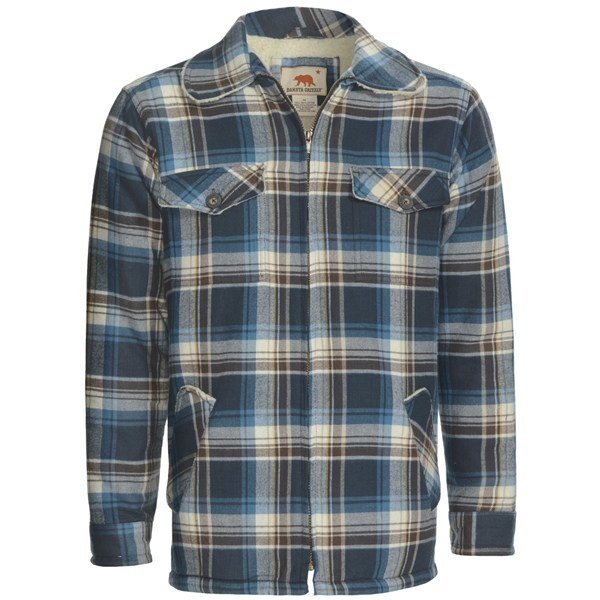 CLOSEOUTS . The thick, brawny 6 oz. cotton flannel of Dakota Grizzly's Dustin flannel shirt is lined with toasty sherpa lining through the body and covered at the elbows with corduroy pads, giving it rugged appeal that stands up to winter's chill. Available Colors: BRICK, MOSS, SLATE. Sizes: M, L, XL, 2XL, 2X. - $49.95