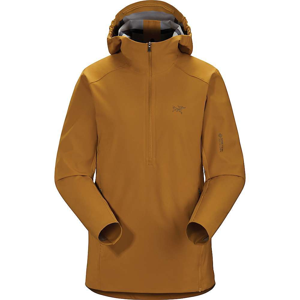 Features of the Arcteryx Women's Trino SL Anorak Gore-Tex INFINIUM is windproof with a durable face and knit backer for enhanced warmth Teslin panels under arms and on back promote venting Low profile hood with adjuster gives additional protection Kangaroo pocket with zippered entry and an internal security pocket Side zippers give rapid ventilation and easier on/off Toggle hem adjuster secures Fit and seals out cold Fabric Details Chest and Arms: Gore-Tex INFINIUM Under Arms and Back: Teslin - $225.00