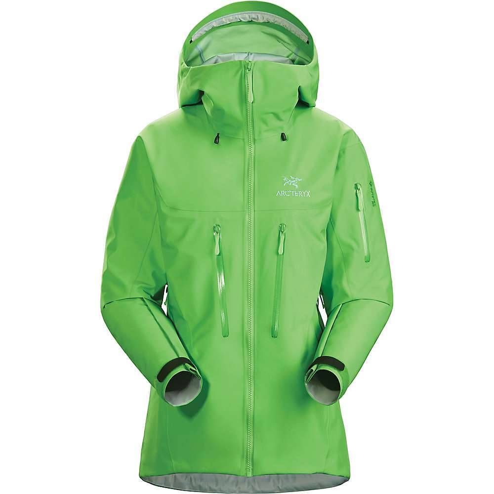 The Arc'teryx Women's Alpha SV Jacket is a waterproof jacket for severe alpine conditions. Get on the mountain and climb. The Gore-TEX PRO fabric Features Most Rugged Technology, combining with a durable face fabric to keep the harsh weather at bay. Passive avalanche protection comes in the form of a hidden Recco reflector, right inside the left bicep pocket. The StormHood Features a laminated brim and can be worn over a helmet, so you can stay safe while keeping the rain or Snow off. Leave the pit zips open to release excess body heat or close them off as needed through the adventure. Features of the Arcteryx Women's Alpha SV Jacket Super durable N100D Most Rugged 3L Gore-Tex Pro 2.0 is Highly abrasion resistant and breathable Helmet compatible StormHood and updated ball cap adjustment Two external volume pleated chest pockets, one left bicep pocket with WaterTight zipper and RS Zipper Sliders Recco reflector in the left bicep pocket Custom TPU zipper pulls One internal security pocket and one dump pocket WaterTight pit zips Cohaesive hem adjusters also function as HemLock prevents slipping under a harness Fabric Details N100D Most Rugged 3L Gore-Tex Pro 2.0 - $799.00