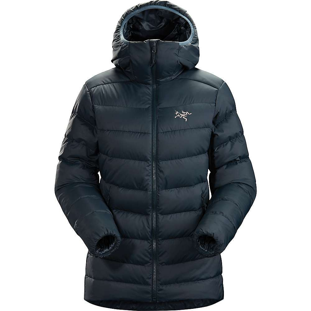 The Arc'teryx Women's Thorium AR Hoody is a down jacket for adventuring in winter weather. Featuring 750 fill grey goose down and an Arato; 30 face fabric, it'll be happy to hike the mountains in dry weather or wet weather (under a shell) so long as the cold is around. Hood up to warm your head and ears, or push it back when you're working up a sweat. Pockets offer extra warmth for your hands, or zip up an extra pair of glove liners inside. Features of the Arcteryx Women's Thorium AR Hoody Durable and subtly textured Arato 30 withstands abrasion; DWR finish Down Composite Mapping strategically places both down and synthetic Insulation Synthetically insulated low profile StormHood Concealed zippered hand pockets, internal zippered pocket, includes 2.5L stuff sack Low profile, elasticized cuff layers easily Adjustable hem drawcord seals out cold - $325.00