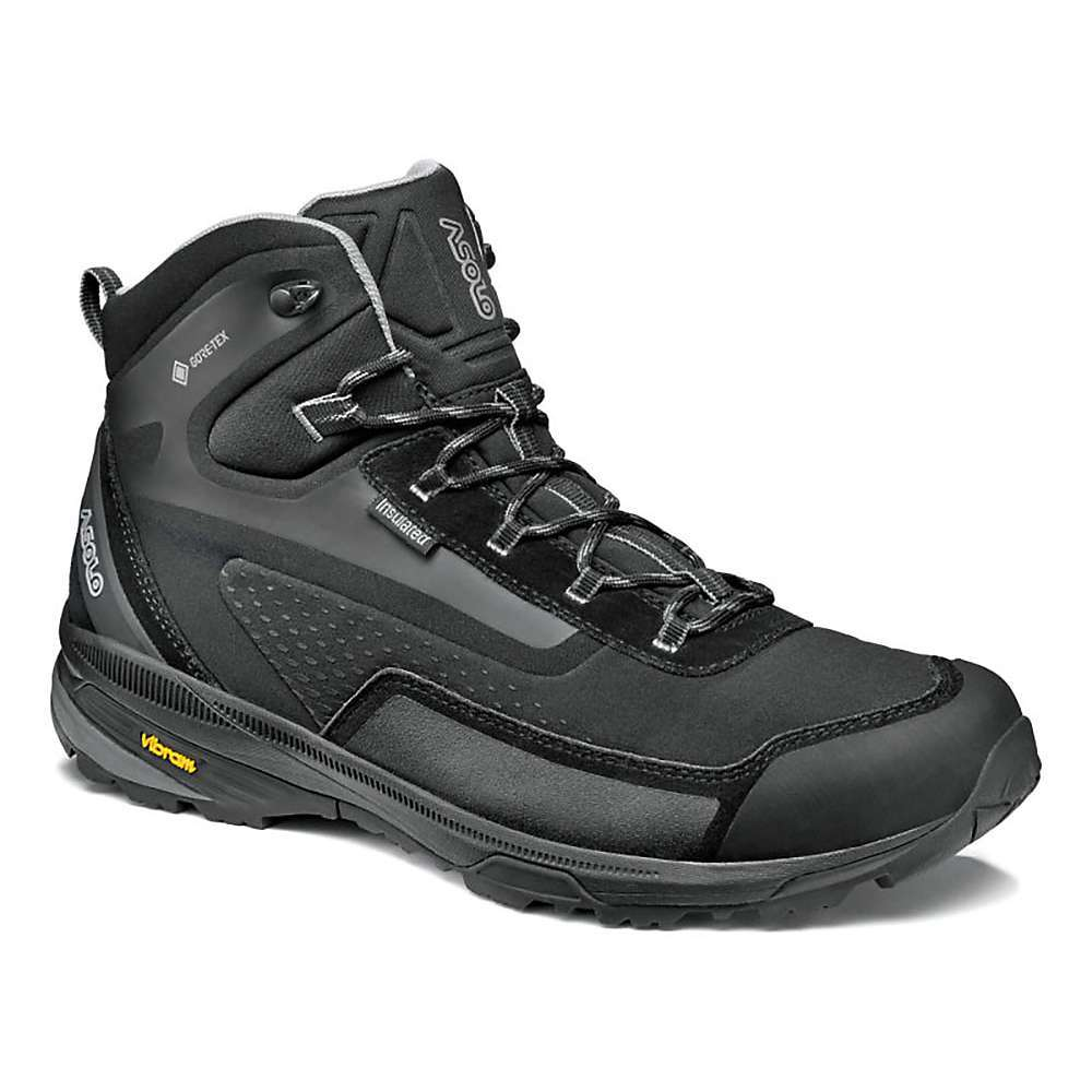 Features of the Asolo Men's Nuuk GV Shoe Heel locking provides a more stable and secure Fit Gore-TexA(R) insulated comfort for waterproofness and breathability Mesh and polyester Upper Webbing lacing system for fast and precise lace up Rubber toe cap Excellent grip on wet, icy and Snowy terrains Stability, cushioning and greatanatomical support - $209.95