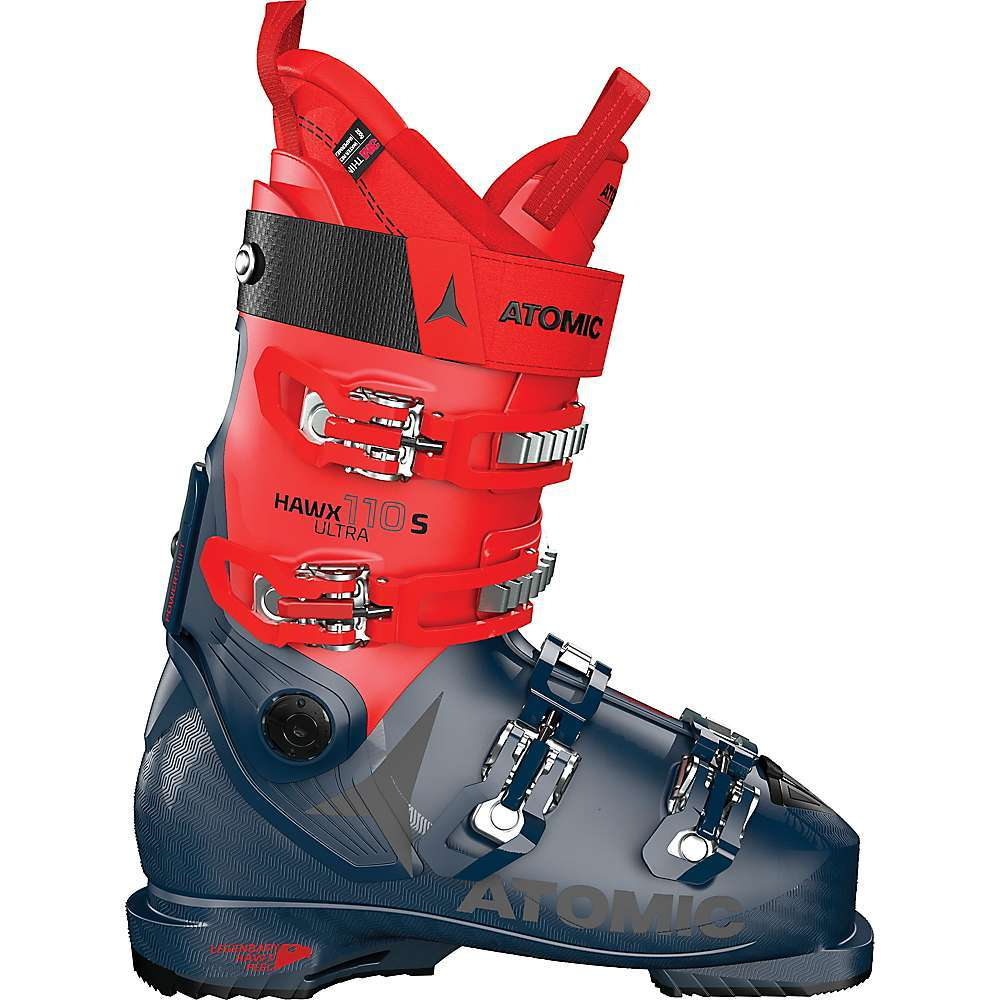 The Atomic Hawx Ultra 110 S Ski Boot is an alpine ski boot with a narrow Fit that accommodates skiers with a medium build. The Prolite construction reduces weight while simultaneously reinforcing key Areas, adding power to your Performance. With the Memory Fit and Mimic moldable shape, your feet will be as comfortable as possible as you take on whatever terrain comes your way. Between the Power Shift adjustable lean and flex and its narrow, agile Fit, you'll be riding strong all day long. Features of the Atomic Hawx Ultra 110 S Ski Boot Prolite: Way of building skis and boots that turns traditional thinking on its head, It starts with the Slimmest possible profile and then it builds up reinforcements in key Areas where strength is needed G?? like the Energy Backbone down each boot spine and ski edge Energy backbone Memory Fit Power shift Legendary hawx feel Liner: 3D Gold, 3M Thinsulate Grip Pads: Single Density cantable grip pads Buckle: 6000-Series alu buckle Power Strap: 40mm Velcro strap 2nd Power shift screw, 13sq root; Power shift shim, liner spoiler, size adjuster included Fabric Details True Flex PU Cuff: PU - $599.95