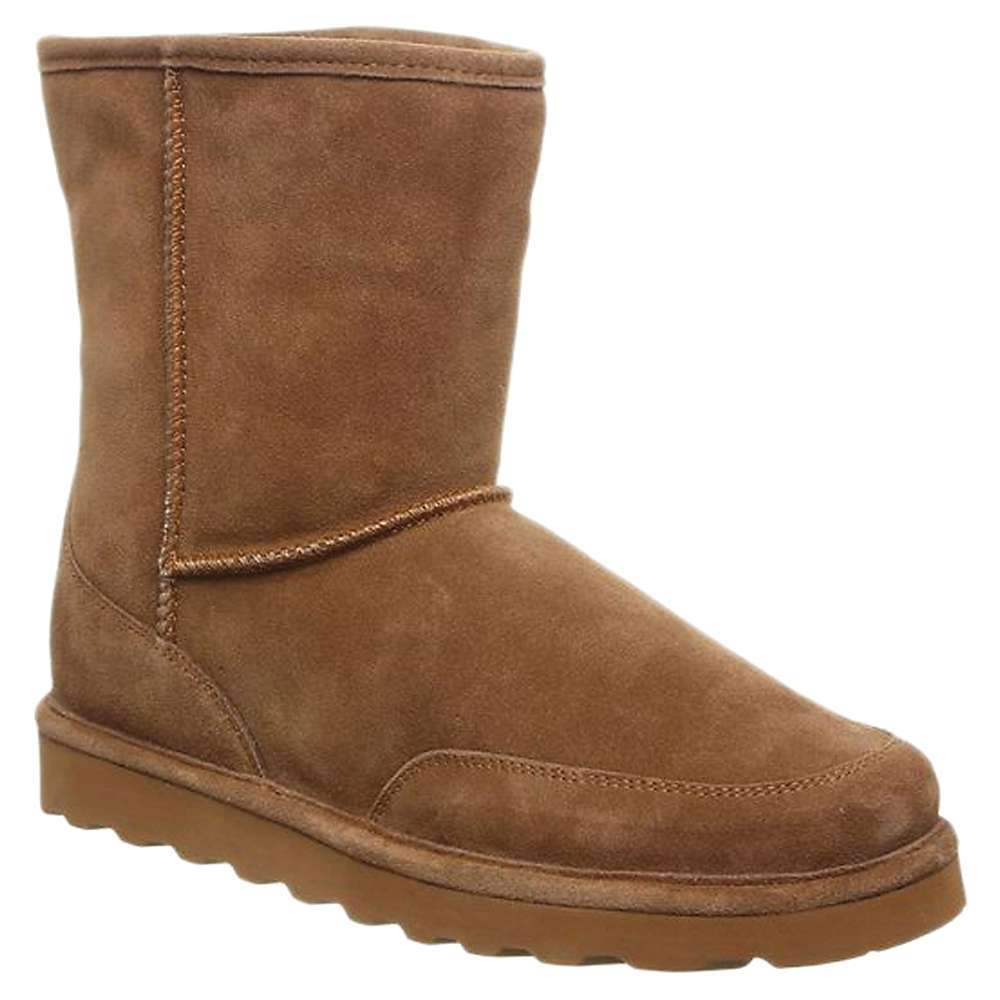 Features of the Bearpaw Men's Brady Boot 8 inch tall cow suede boot with mudguards Treated with NeverWetA(R) Technology for stain protection Sheepskin and wool blend lining Cushioned sheepskin Footbed Low profile blown rubber Outsole - $99.95