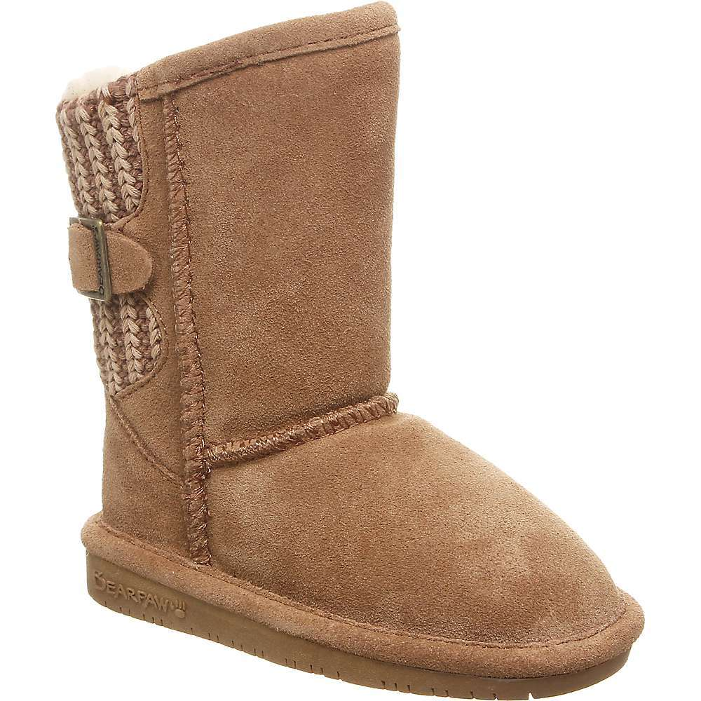 Features of the Bearpaw Toddler's Boshie Boot Boot lends unique styling to any outFit 5in. Tall cow suede Upper with knit back and buckle detail Warm wool blend lining Cushioned comfort sheepskin Footbed on our TPR Outsole Indicates a style that includes a medial or lateral zipper for easy on and off - $59.95