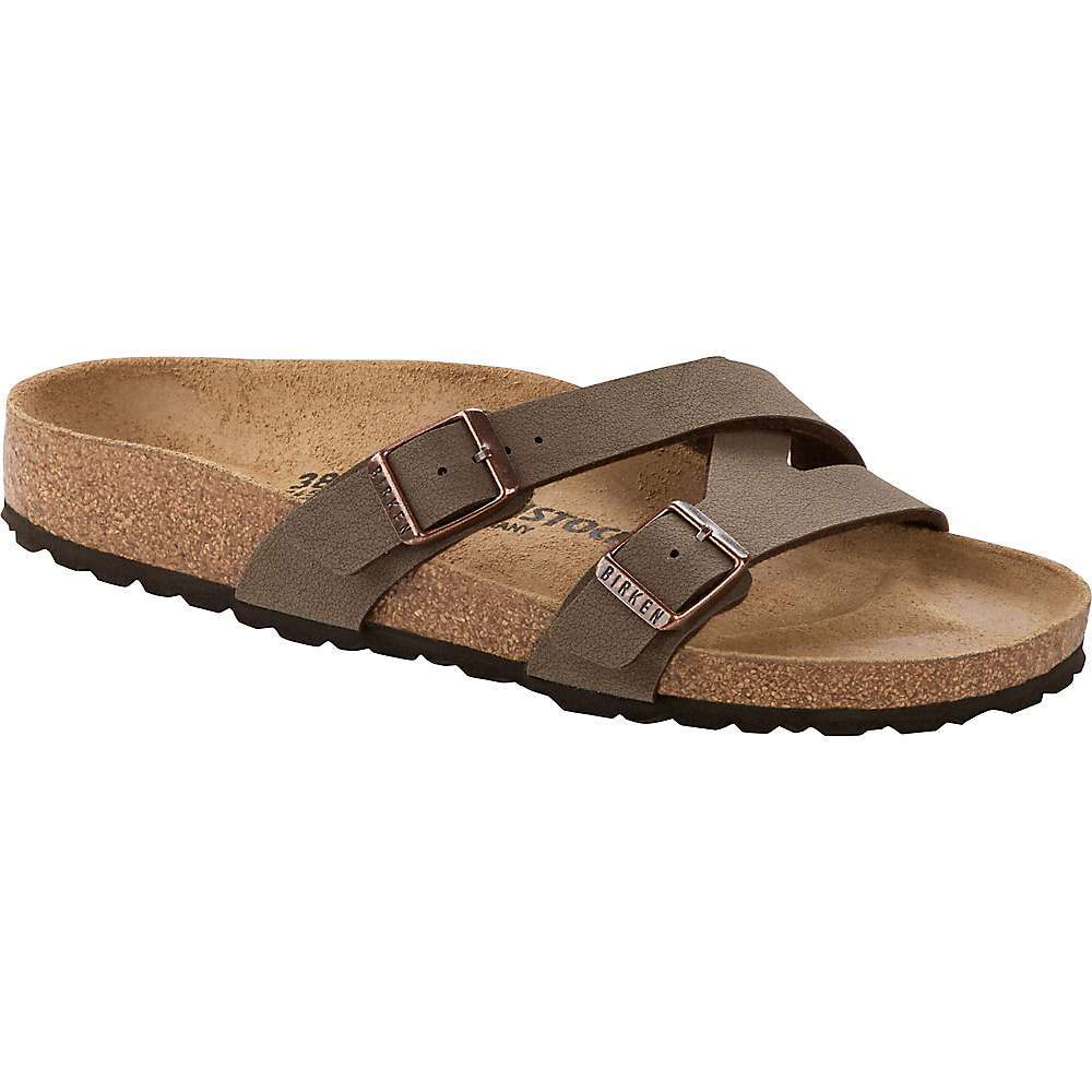 The Birkenstock Women's Yao Slide is a slide sandal for summers in the city. It's hot so ditch the socks and show off your pedicure. The Dual buckles and EVA sole with anatomical formed Footbed don't forget the classic Birkenstock look, while the strap wrap offers flirty fun. Features of the Birkenstock Women's Yao Slide Anatomically shaped cork-latex Footbed Upper: Birko-Flor? nubuck Footbed lining: suede Sole: EVA Details: two straps, each with an indiviDually adjustable metal tongue buckle Made in Germany - $99.95